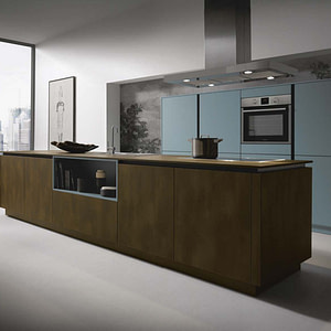 Steel bronze and blue grey island kitchen