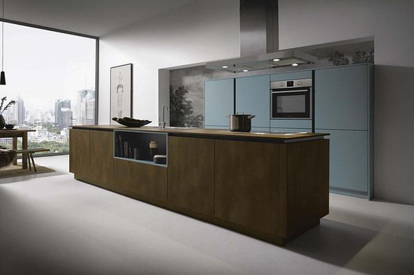 Steel bronze and blue grey island kitchen