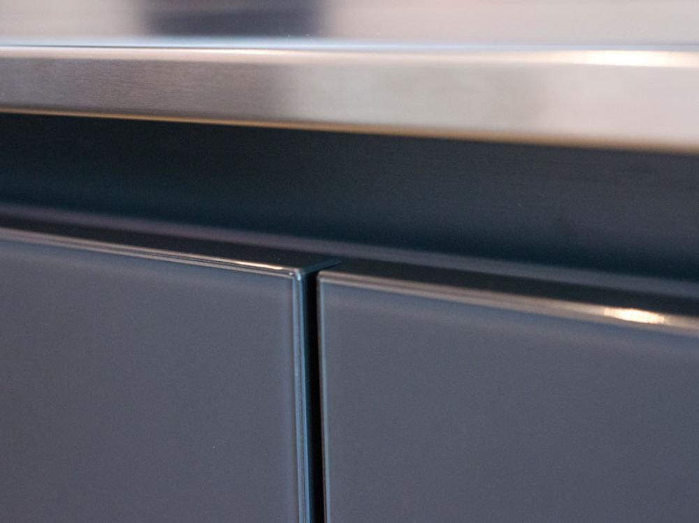 Stainless steel worktop edge profile