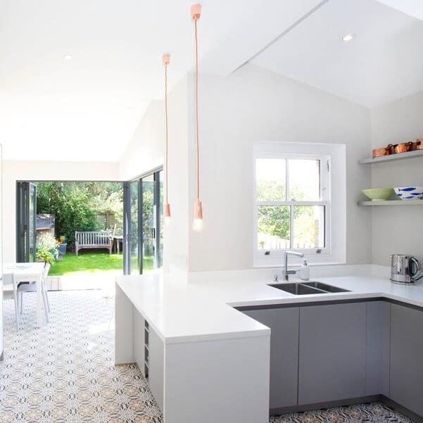 Stone Grey and White Handleless Kitchen