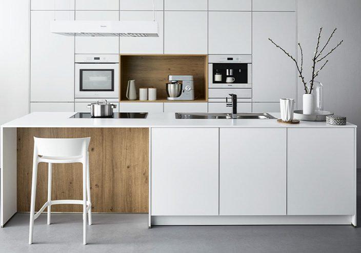 White and oak island kitchen