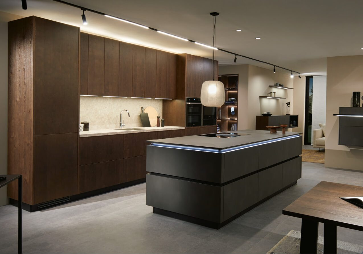 Brushed Oak and Dark Steel Reproduction Kitchen