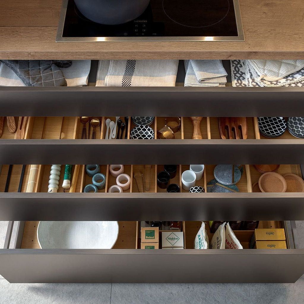 Oak drawer organisers