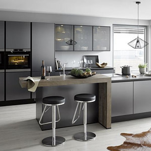 Brushed Titanium Reproduction Handleless Kitchen