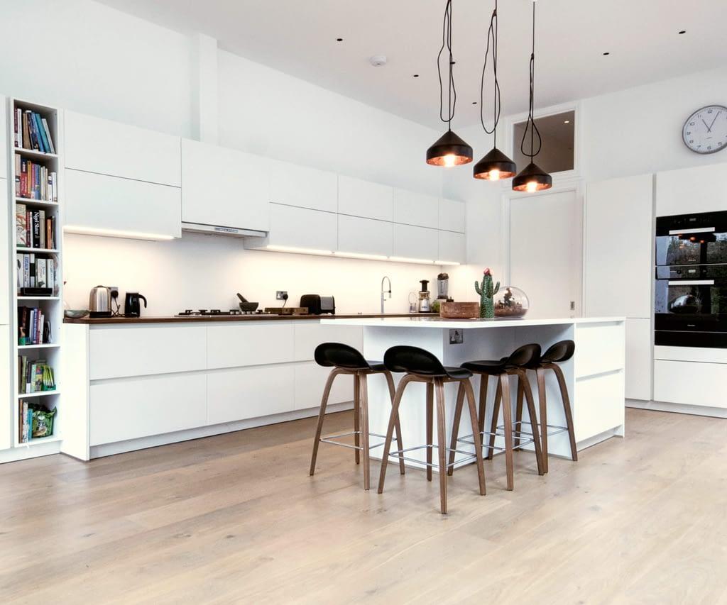 White Matt Handleless Kitchen with Island