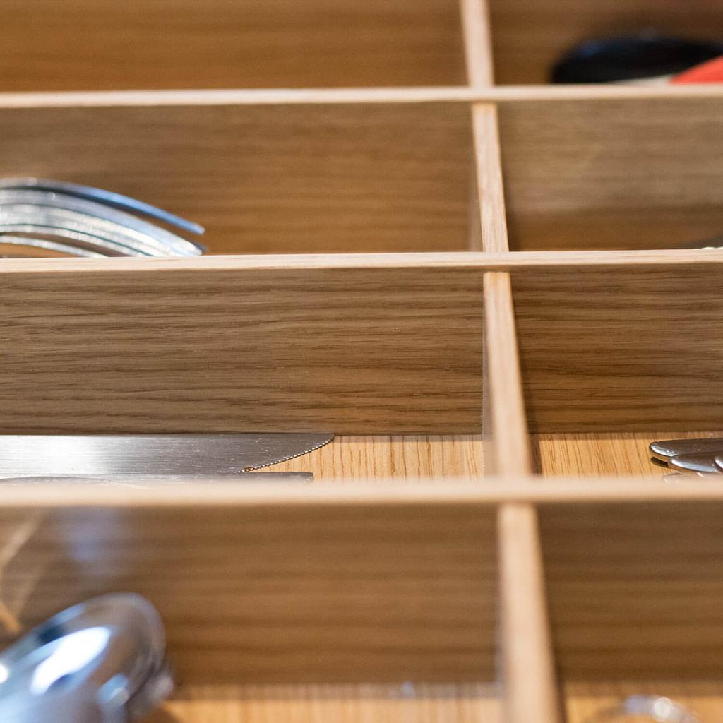Oak cutlery organiser