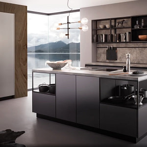 Onyx Black Handleless Island Kitchen
