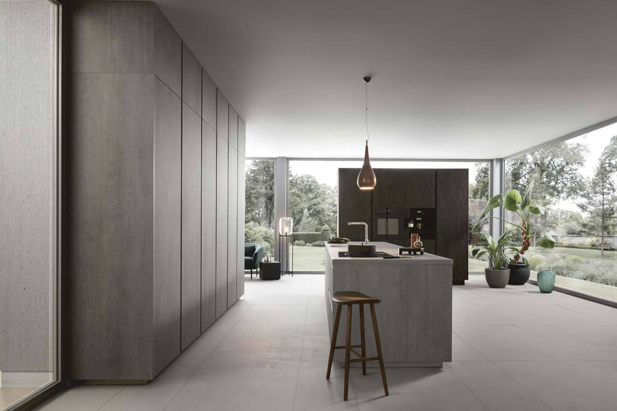 Light Concrete Reproduction Island Kitchen