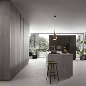 Light Concrete Reproduction Island Kitchen