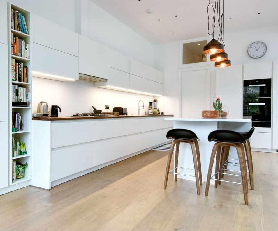 Matt white handleless kitchen