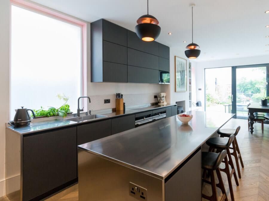 Black matt glass kitchen