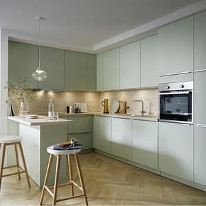 Pastel Green Satin U Kitchen