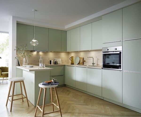 Pastel Green Satin U Kitchen