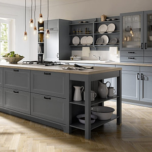 Farmhouse Kitchen Blue Grey Lacquer