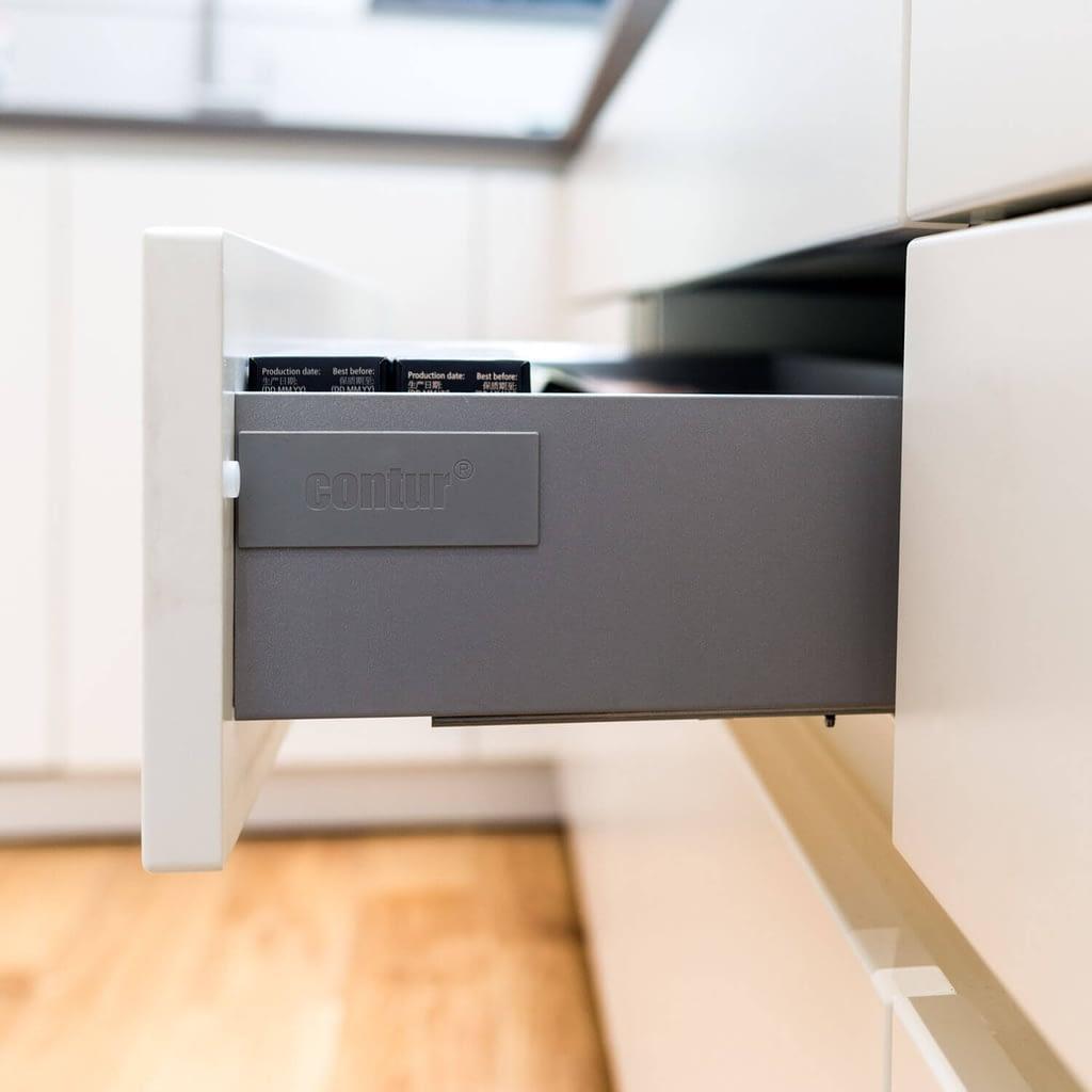 Open kitchen drawer detail