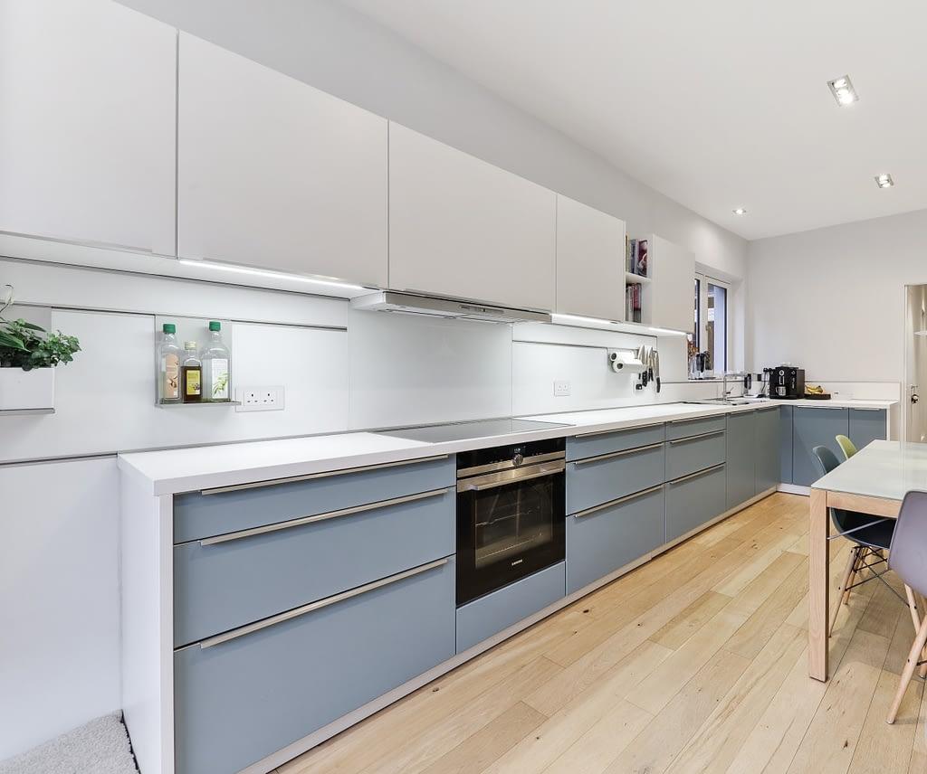 Grey Blue Satin Lacquer Kitchen