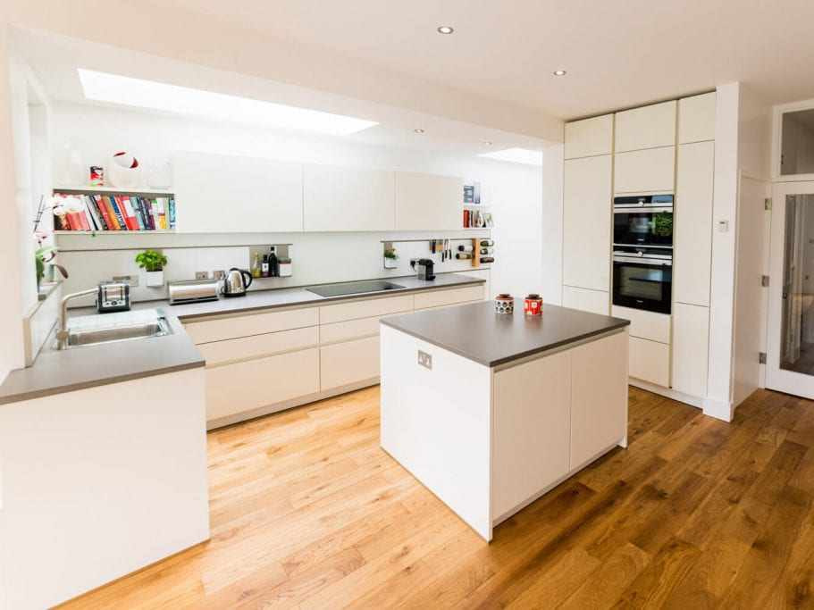 Matt white kitchen with island