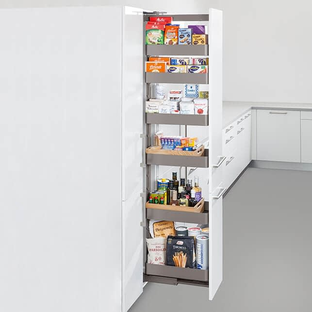 Pull out tall larder with adjustable shelves