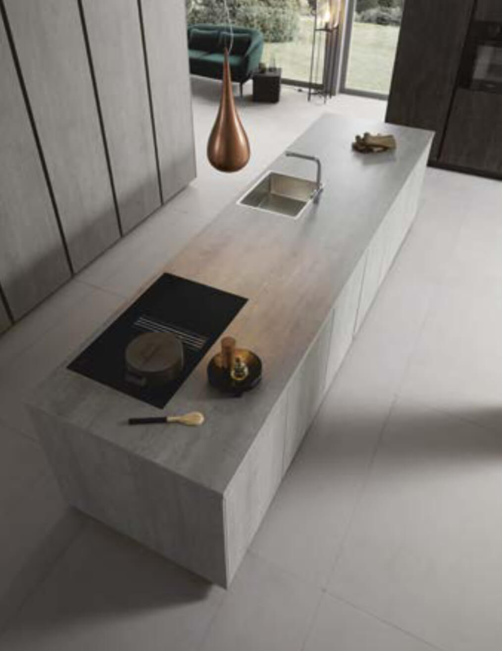 Concrete reproduction kitchen island perspective