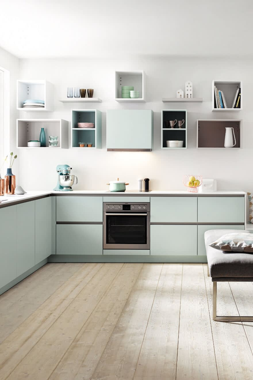 Kitchen with open box shelving