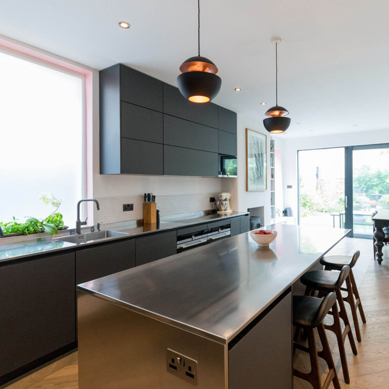 Lava Black Glass Kitchen with Island
