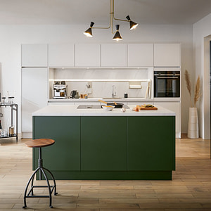 Velvet Matt Green and White Kitchen with Island