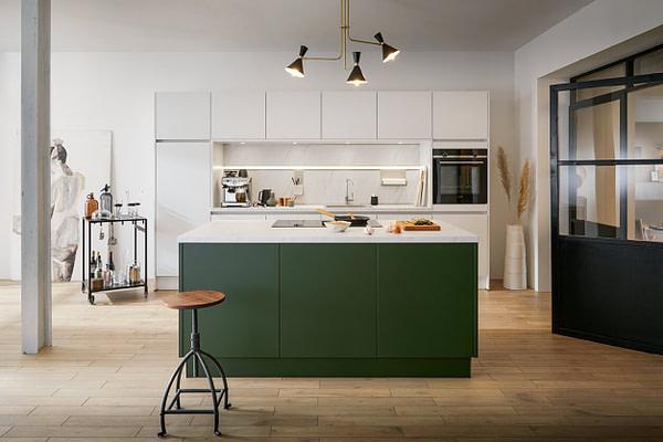 Velvet Matt Green and White Kitchen with Island