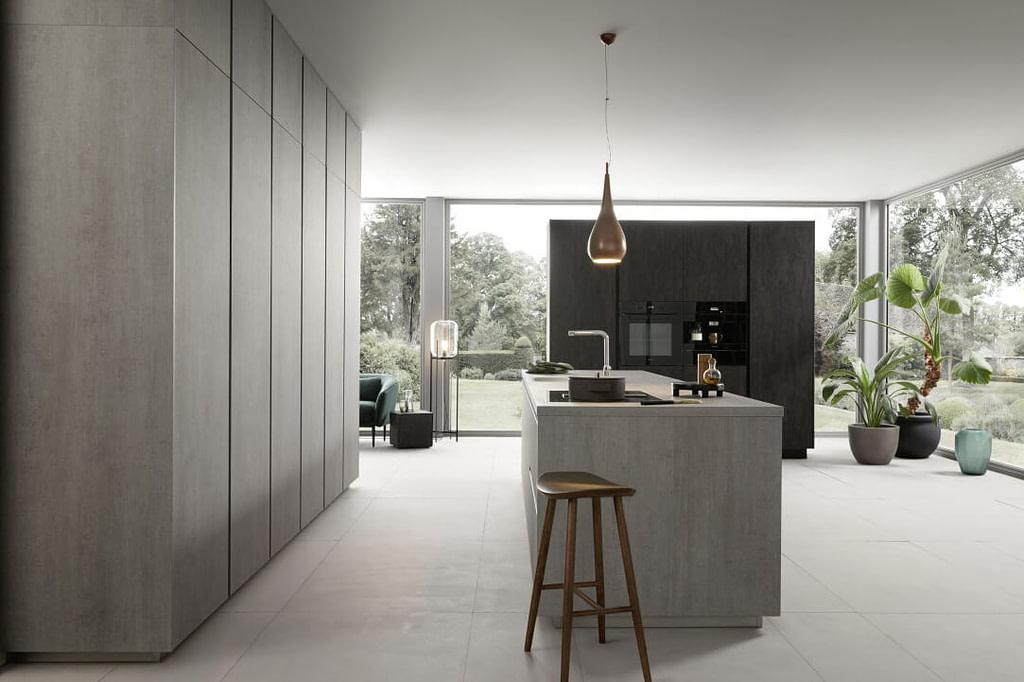 Concrete Reproduction Island Kitchen
