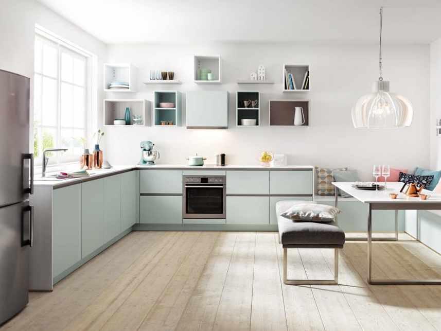 Glacier Blue Handleless Kitchen