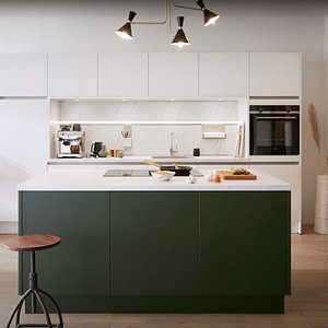 White and Forest Green Velvet Matt Handleless Kitchen