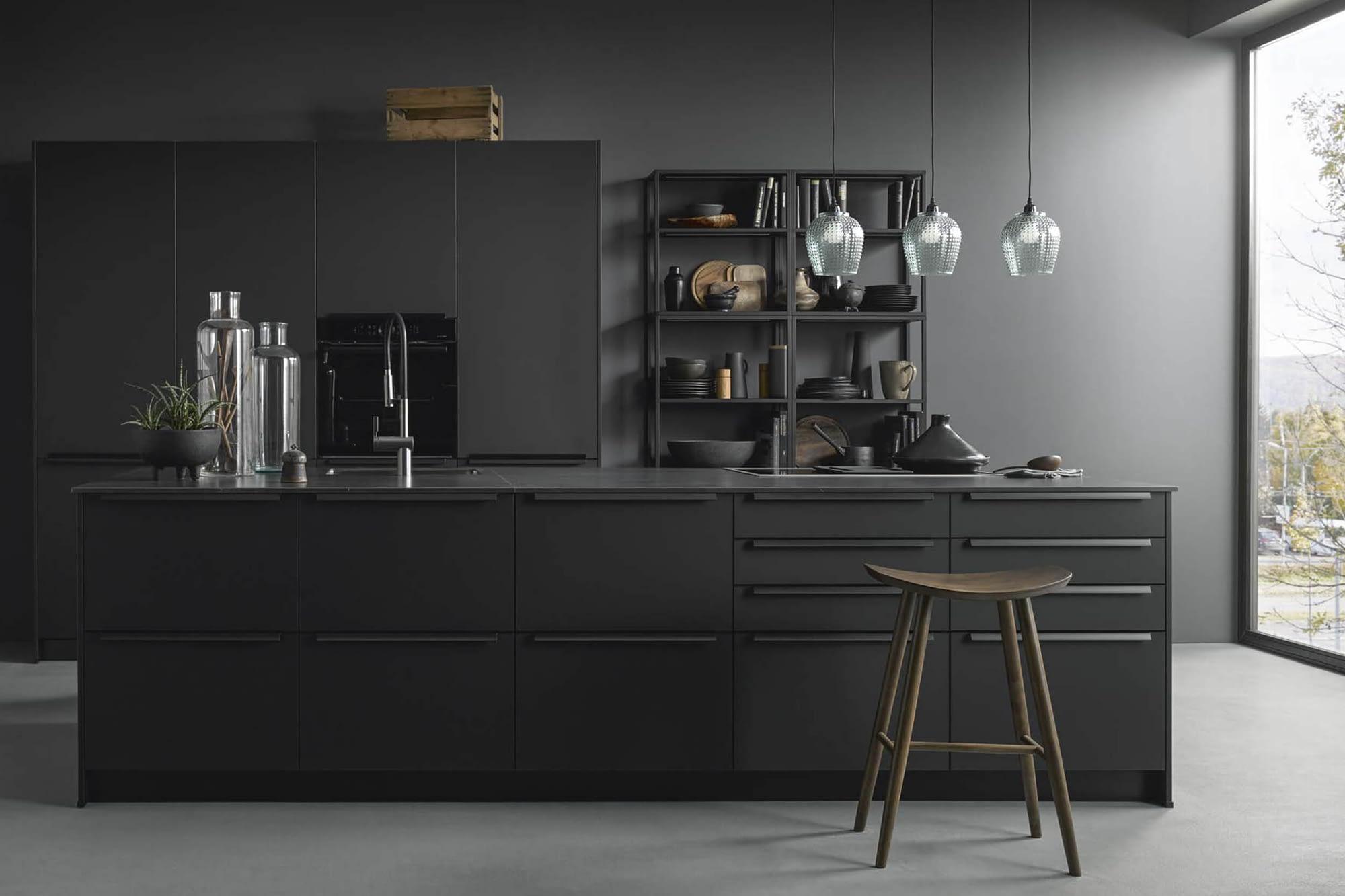 Onyx Black Matt Island Kitchen