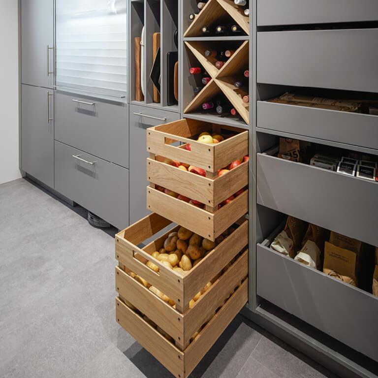 Open drawer storage