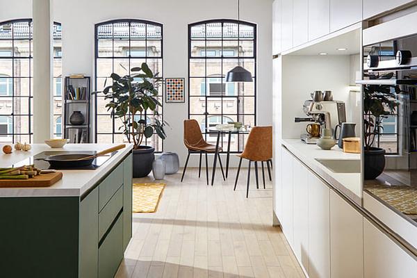 Forest Green & White Island Kitchen