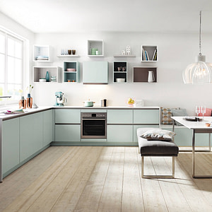 Glacier Blue Handleless Kitchen