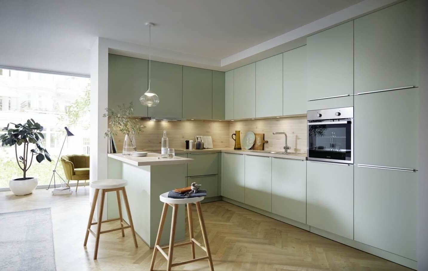 Pastel Green Lacquer Kitchen