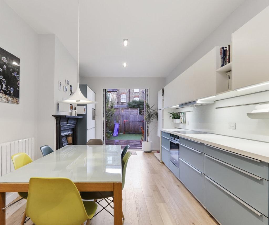 Blue Grey and White Kitchen